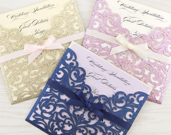 SAMPLE * Glitter Laser Cut Wedding Invite with Bow. Ruby Range