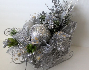 Christmas table centerpiece, Holiday Table Décor, Christmas Sleigh arrangement , floral arrangement, holiday arrangement, silver