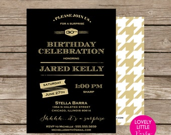 Printable Masculine 30th/50th/21st/60th Birthday Invitation - Lovely Little Party