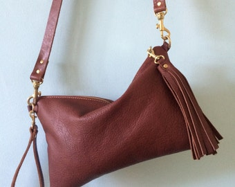 Brown leather cross body bag, cross body purse, leather clutch bag