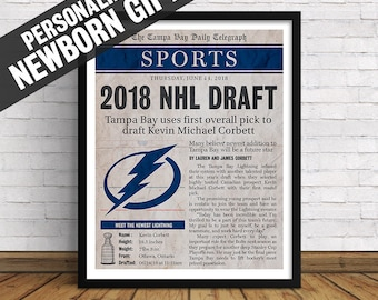 Tampa Bay Lightning | Custom Birth Announcement, Newborn Sports Section Page with Birth Stats | Art Print | Perfect Gift for Hockey Fans