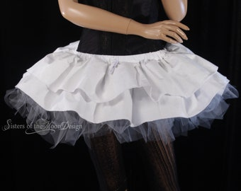 Pennywise tutu skirt adult cosplay costume halloween party dress up white tattered grey ruffle layered - All Sizes- Sisters of the Moon