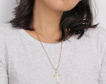 Gold Cross Long Necklace - Religious Jewelry - Layering Necklace
