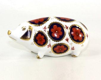 Royal Crown Derby Imari Pig English Bone Chine 1985
