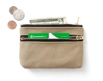 Canvas Coin Purse Wallet Double Zipper Pouch Beige