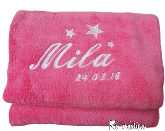 Embroidered fleece Plaid name date 3 stars / personalized