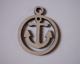 Anchor Ornament, Laser Cut Wood Shapes, Ready to Paint Woodcraft, Christmas Decorations, Wreaths, Tags, Home Decor, Nautical Decor