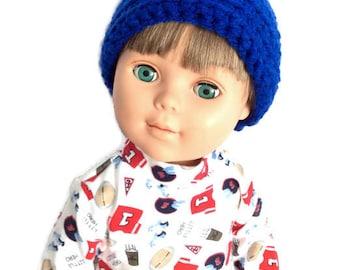18 Inch Boy Doll Beanie, Blue Crocheted Doll Hat, Blue Beanie, Boy Doll Clothes
