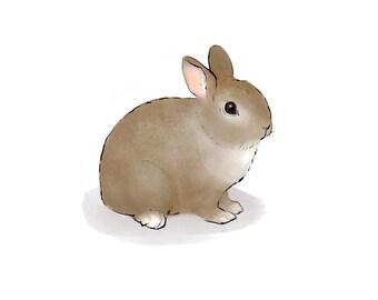 bunny rabbit digital print, rabbit print, bunny print, easter print, watercolor and ink bunny