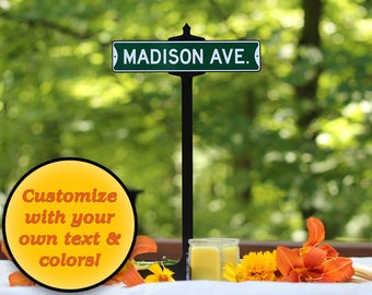 Wedding Table Custom Street Sign and stand | reception sign table centerpiece custom wedding signs table numbers wedding planner table decor