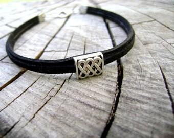 Black infinity eco suede mens bracelet. minimalist everyday bracelet vegan bracelet - My style  - mens jewelry