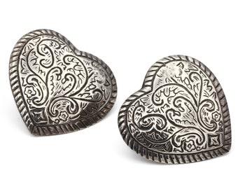 Scroll Heart Earrings, Mothers Day Gift, Large Heart Studs, Floral Stud Earrings, 925 Sterling Silver, Heart Post Earrings, I Love You Gift