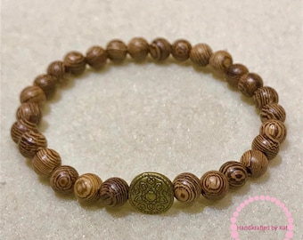 6mm Bamboo Wood Beads with Mandala Bead