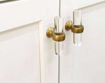 Lucite Brass Cabinet Knobs -Brass Hardware, Gold Drawer Pulls, Lucite Knobs, Lucite Drawer Knobs, Glass Knobs, Gold Knobs