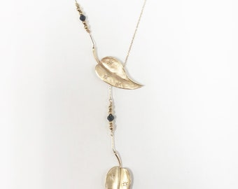 Beautiful Vintage Leaf Lariat Necklace With Diamonds / 14k