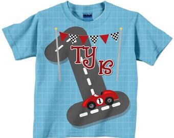 Boy's Race Car Shirt, Personalized Racing Birthday T-Shirt, 1st 2nd 3rd 4th 5th 6th 7th 8th 9th Birthday