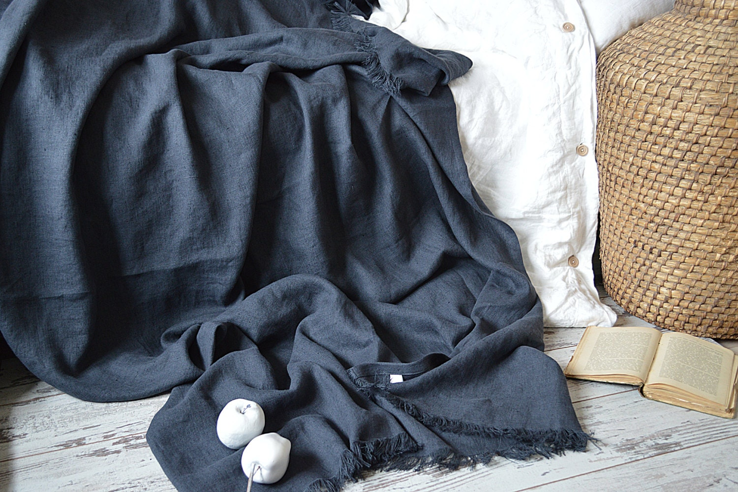 Linen Throw Blanket With Fringe Without Fringe Heavy