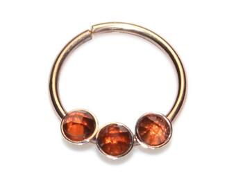 Garnet Septum Ring Solid Gold 20 gauge / Septum Piercing, Daith Piercing / Nipple Ring, Cartilage Hoop, Nose Hoop, Tragus Hoop, Rook Hoop