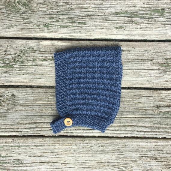 Pine Pixie Hat with Button Fastening - Denim Blue