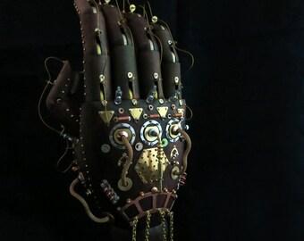 Steam punk Sculpture, Steampunk Art, Mechanical Hand Sculpture, Industrial Art, Prosthetic Hand Prop, Medical Device, Scientist, Wood hand