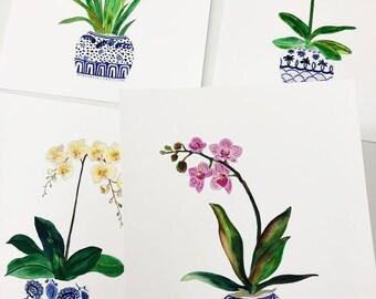 Watercolor Orchids Art. Set Of Four Orchid Ginger Jars. Blue/White Art Prints. Modern Flower Home Decor. Gift For Mom.