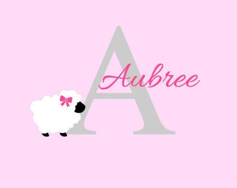 Sheep Wall Decal, Baby Nursery Wall Decor, Baby Girl Room, Little One, Personalized Wall Decal, Home Decor, Home and Living, Wall Sticker