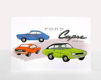 Ford Capri - Greetings Card