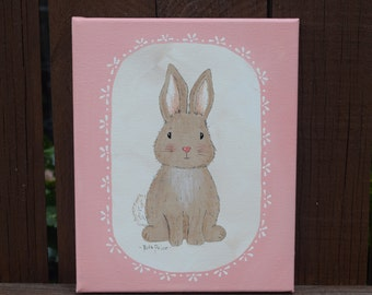 Somebunny Loves You - Original Bunny Painting on 8 x 10 Canvas