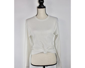 Vintage 70s Retro Long-Sleeved Thermal, Off White, Crew Neck, Long Johns, 1970s