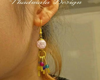 boho round stone and wires earring