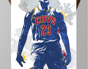 Fan art poster, LeBron James King James Cleveland Cavaliers, Sports art Poster