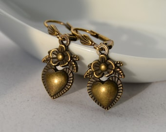 Victorian Heart Earrings Vintage Drop Earrings Leverback Earrings Small Drop Earrings Small Dangle Earrings Christmas Earrings Gifts for Her