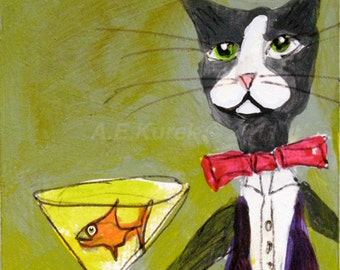 Funny Cat Art, cat print, cat painting print, Cat Print - Tuxedo Cat Bartender - 5 x 7  Print - Silent Mylo Tuxedo Cat - Gift for Cat Lover