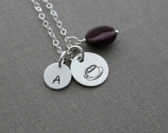 Latte Love Sterling Silver Necklace with  glass Coffee Bean and Initial Personalized java junkie, Coffee Break, Mom gift idea, Birthday