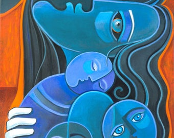 Cubist painting Cubism Art Figurative Mother Child Marlina Vera Modern Abstract Artwork Picasso style Mère peinture Modernist Madre Love