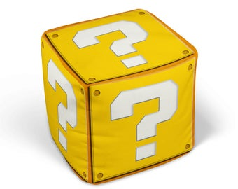 "Question Mark Cube Ottoman, 13"" or 18"" Stuffed Pouf Block with Zipper Cover, Retro Videogame Decor"
