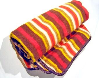Vintage Earth Tones Striped Blanket