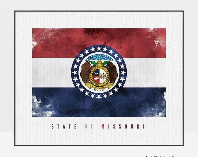 Missouri state flag print, Office decor, Wall art, flag painting poster, United States flag, travel decor, gift, ArtPrintsVicky