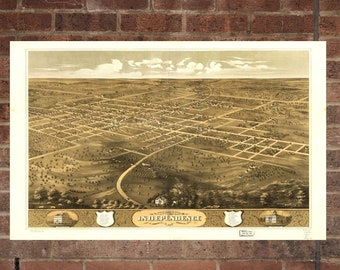 Vintage Independence Photo, Independence Map, Aerial Independence Photo, Old Independence Map, Independence, Independence Poster, MO Art