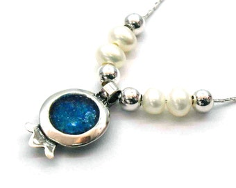 Roman Glass Pomegranate Pendant, Silver Pendant, Ancient Roman Glass Pendant, Small Pomegranate Pendant, Holy Land Jewelry, Rimmon Pendant