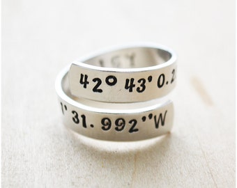 Coordinates Ring - Best Friend Long Distance Relationship - Coordinates Gift for Her - LDR Gift - Hand Stamped Latitude & Longitude Ring
