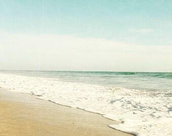 """Beach Photography, Green Aqua White Beach Decor, Retro Inspired Beach, California Beach Art, Seashore, Coastal, Waves,  """"Sea Green Beach"""""""