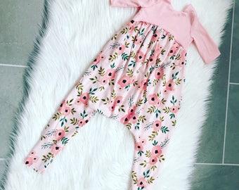 Baby girl romper, alley cat romper, toddler girl romper, harem romper, baby girl outfit,baby girl gift,toddler girl outfit, floral romper