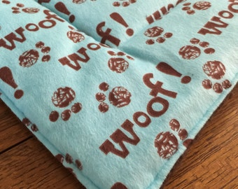 WOOF Dog crate mat pad pet bed FLANNEL  paw prints