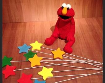 Sesame Street Elmo cake topper wit Stars