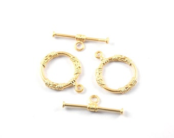 2 sets- Matte Gold plated plated Brass Circle Toggle Clasps - 22x18mm (020-030GP)