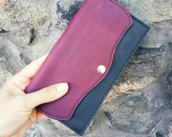 Thin leather wallet, Real leather wallet, Burgundy wallet, Womens wallet, Handmade wallet, Clutch wallet, Wallet for lady, Wallet clutch