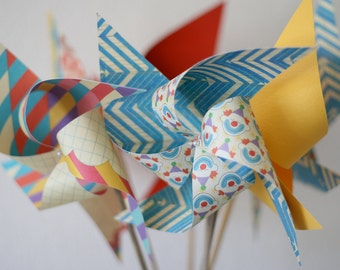 Carnival or Circus Decor vintage/Retro Photo Prop - 6 regular Pinwheels Bring in the Clowns (Custom orders welcomed)