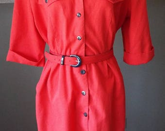 Amazing Vintage Short Sleeve Red Dress by Willi of California
