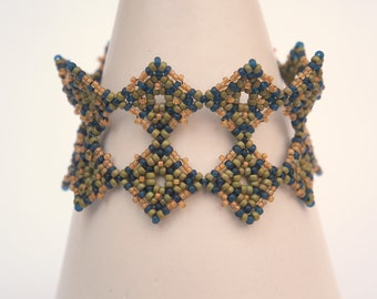 Beadweaving Bracelet Tutorial Beaded Cuff Jewelry Making Instructions Patterns Bead Handmade DIY Craft Beadwork Beaded La Bella Joya